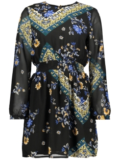 onlnina l/s short dress wvn 15191747 only jurk black/scarf flowers b