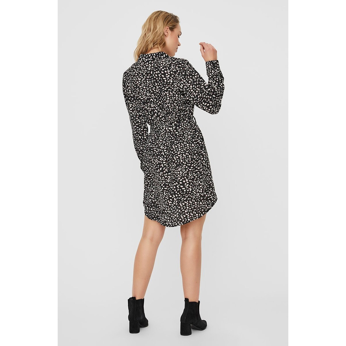 vmsine l/s short dress wvn bf 10220964 vero moda jurk black/lydia