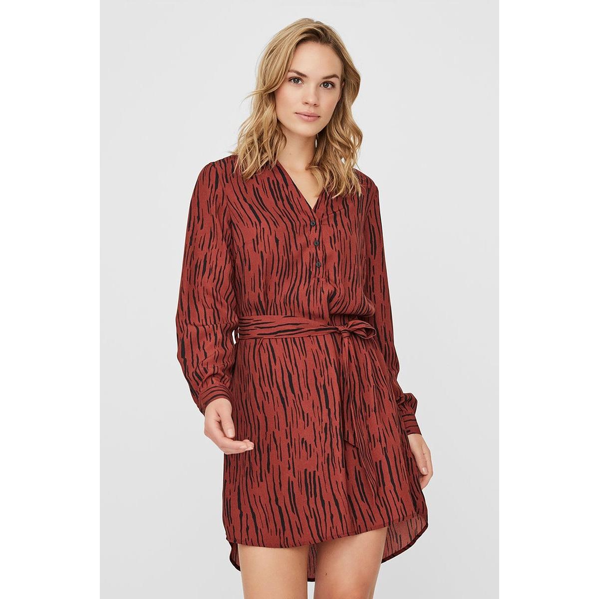 vmsine l/s short dress wvn bf 10220964 vero moda jurk madder brown