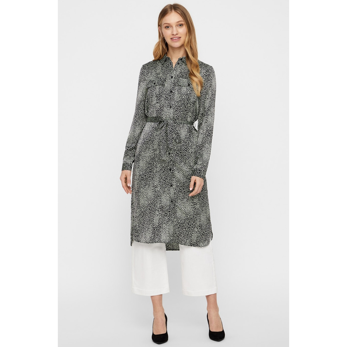 vmcailey l/s shirt tunic exp 10222766 vero moda jurk porpoise/alisa-bl