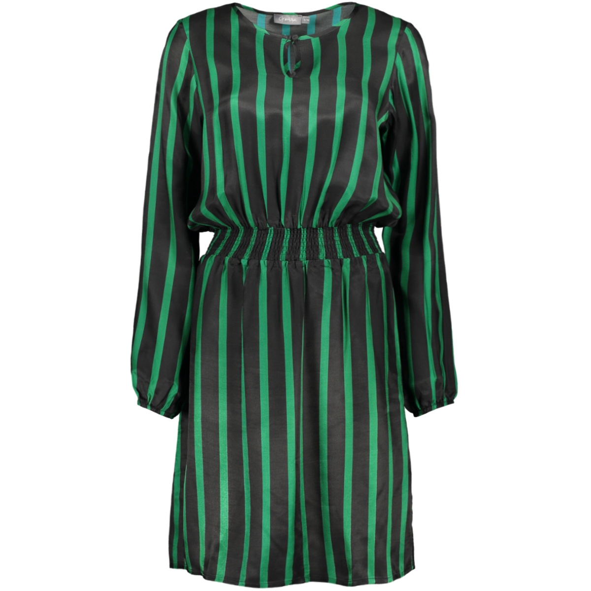 dress stripe elastic waistband 97834 geisha jurk green black combi