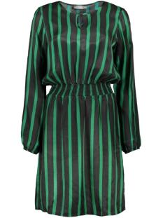 Geisha Jurk DRESS STRIPE ELASTIC WAISTBAND 97834 Green Black Combi