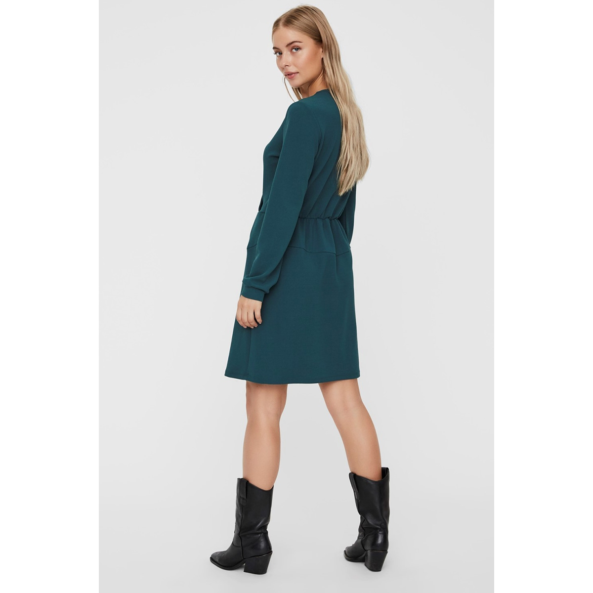vmsana ls short dress jrs 10225658 vero moda jurk atlantic deep