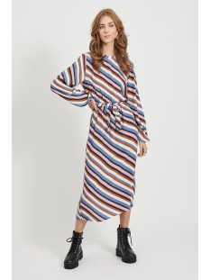 Vila Jurk VIANSEL L/S MIDI DRESS 14057696 Cloud Dancer/MULTI