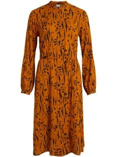 vimitzy kalda  l/s shirt dress/l 14059188 vila jurk pumpkin spice/kalda