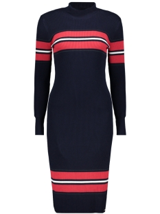 Superdry Jurk HALLIE RIBBED BODYCON DRESS W8000048A ECLIPSE NAVY