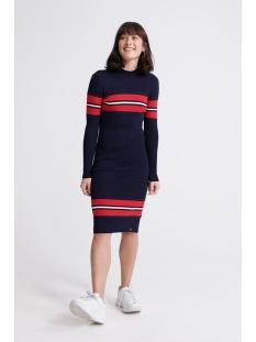 hallie ribbed bodycon dress w8000048a superdry jurk eclipse navy