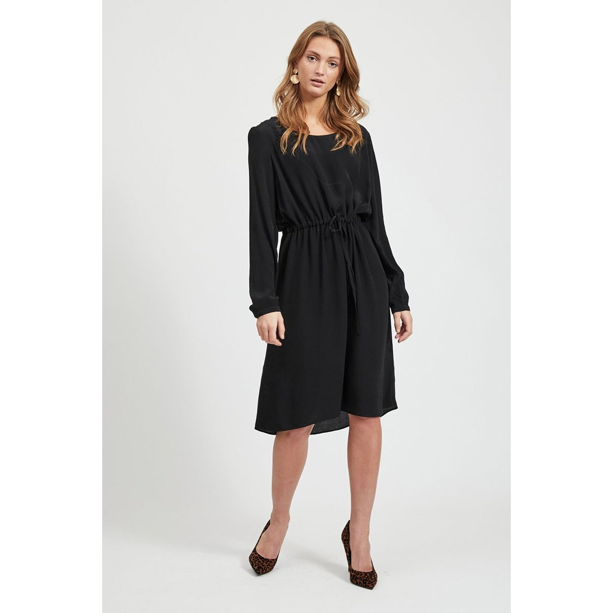 viprimera midi l/s dress-fav nx 14055394 vila jurk black