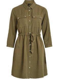 objjana 3/4 shirt dress pb7 23031719 object jurk burnt olive
