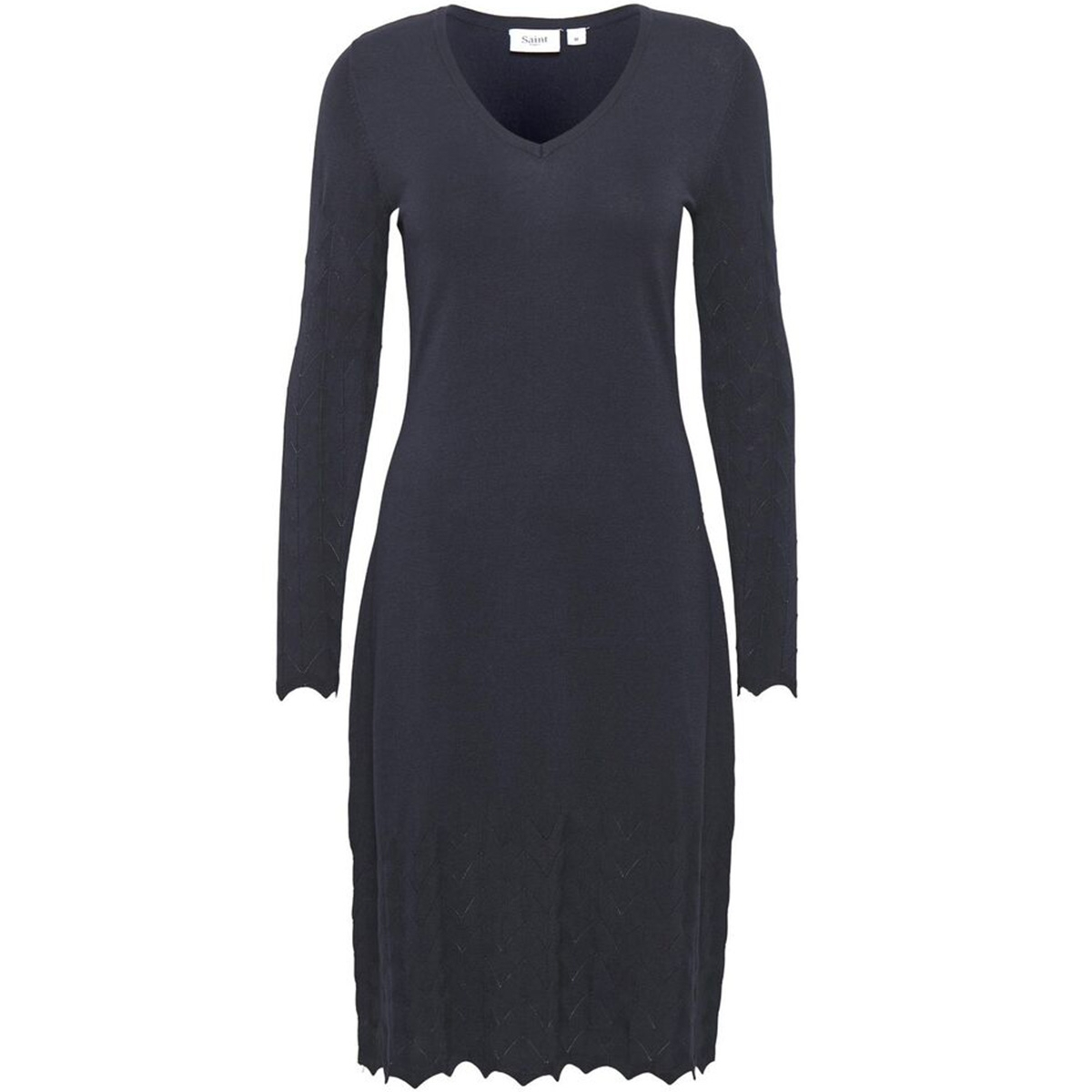 u6872  knitted dress w needle drop 30501698 saint tropez jurk 9069 bl deep