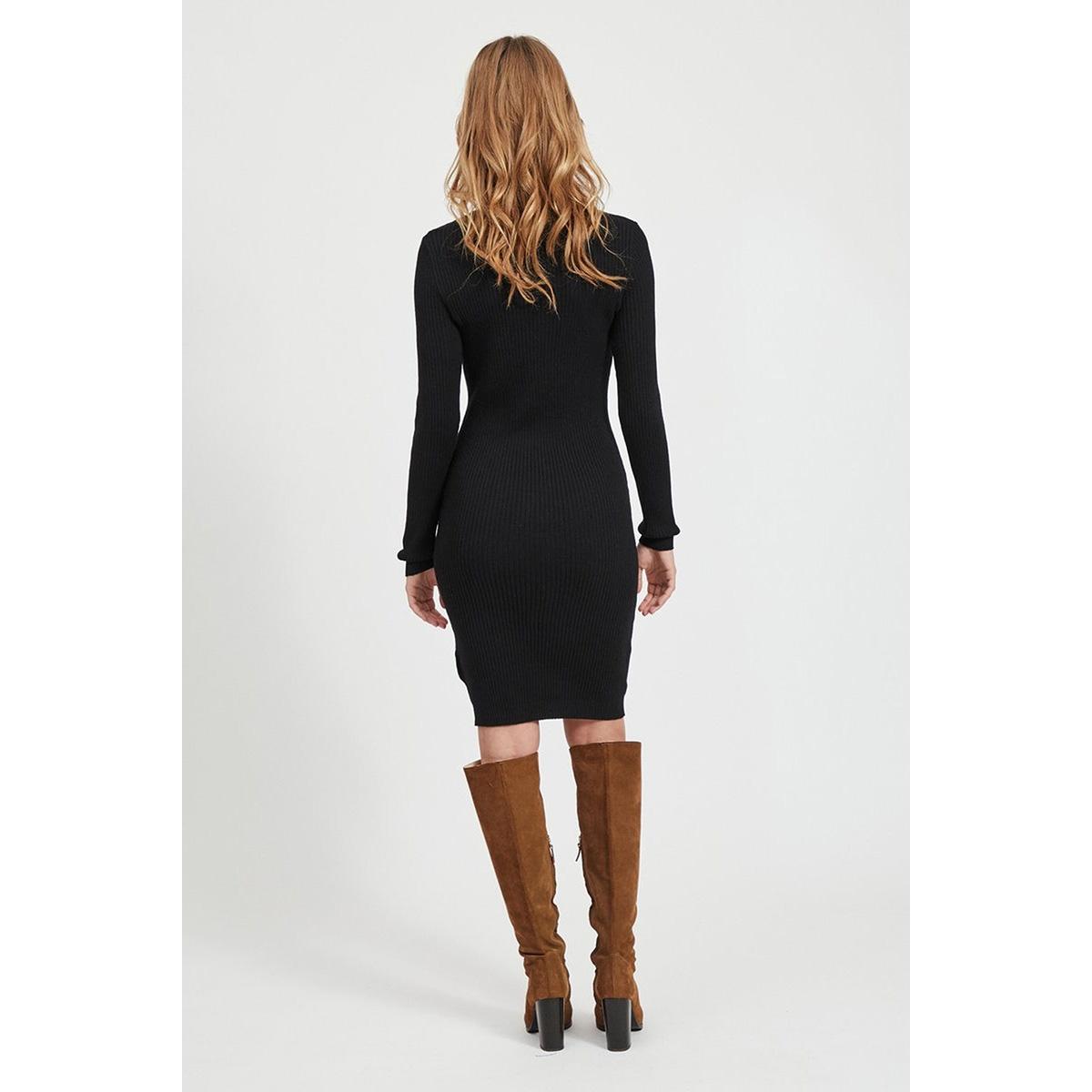 viandena knit funnel neck l/s dress 14055427 vila jurk black