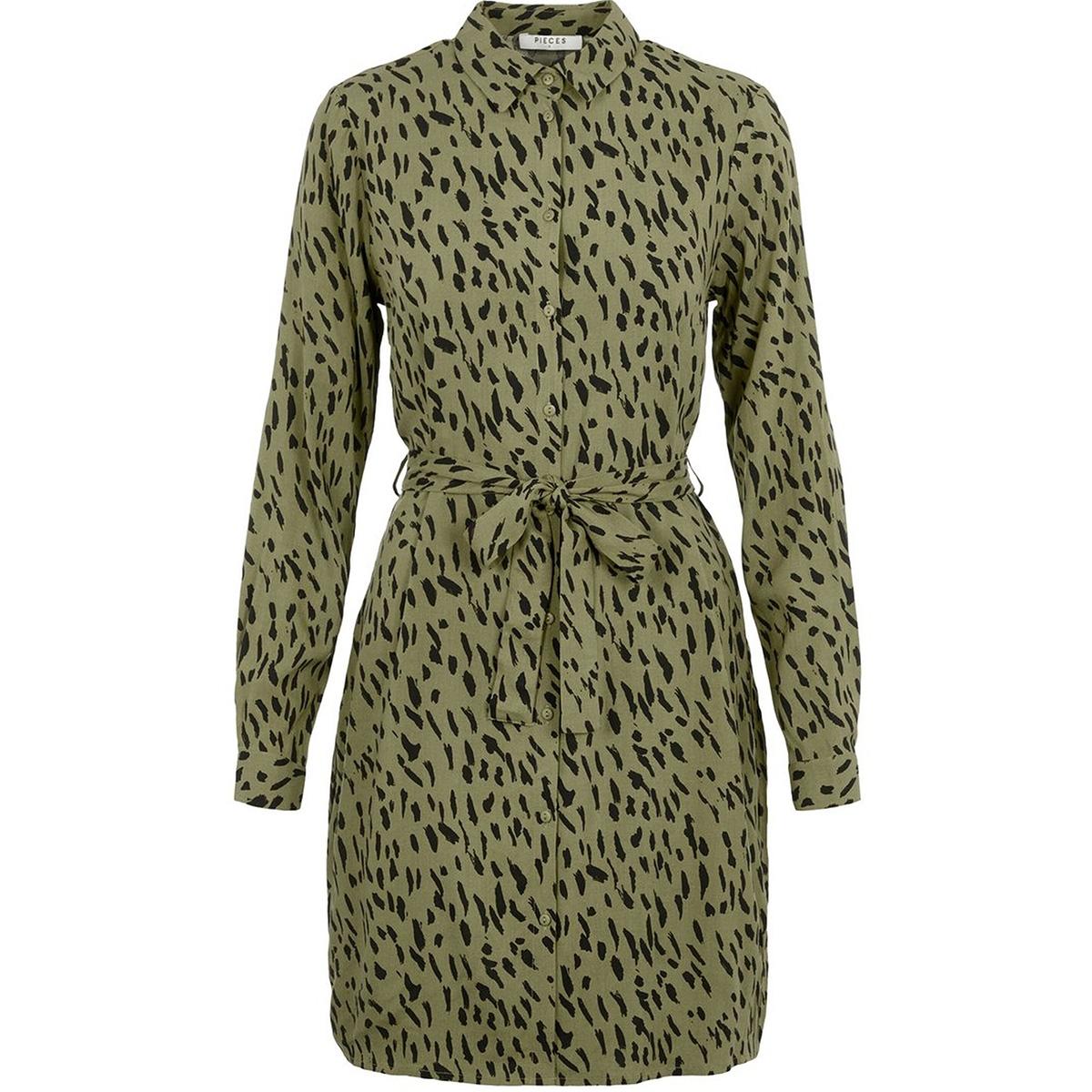 pckaitlyn ls shirt dress bf 17102255 pieces jurk deep lichen green/animal