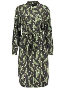Vero Moda Jurk VMLAJLA L/S SHIRT DRESS EXP GA 10232806 Black/IVY GREEN LEAVE