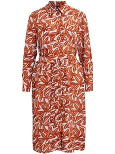 objorrie l/s shirt dress 108 23032392 object jurk sugar almond/leaf print