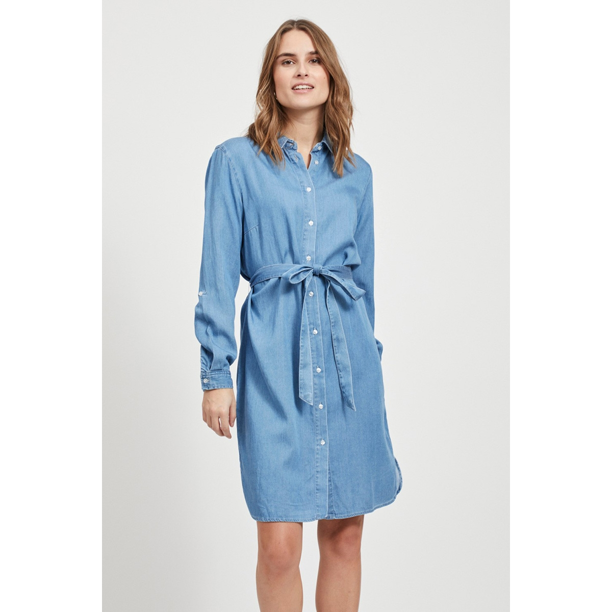 vibista denim belt dress/su - noos 14054674 vila jurk medium blue/clean wash