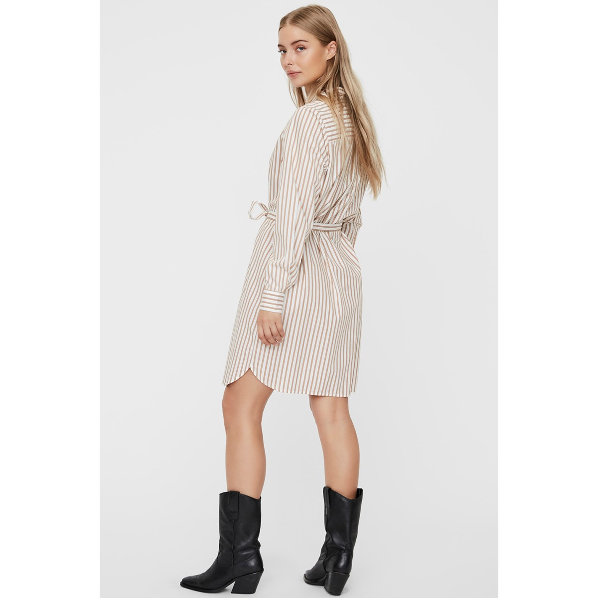 vmgemma ls abk shirt dress wvn 10225890 vero moda jurk snow white/rocky road