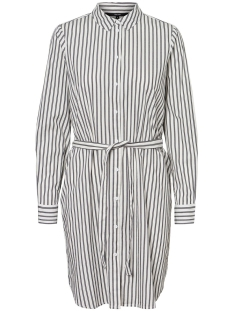 Vero Moda Jurk VMGEMMA LS ABK SHIRT DRESS WVN 10225890 Snow White/BLACK STRIPE