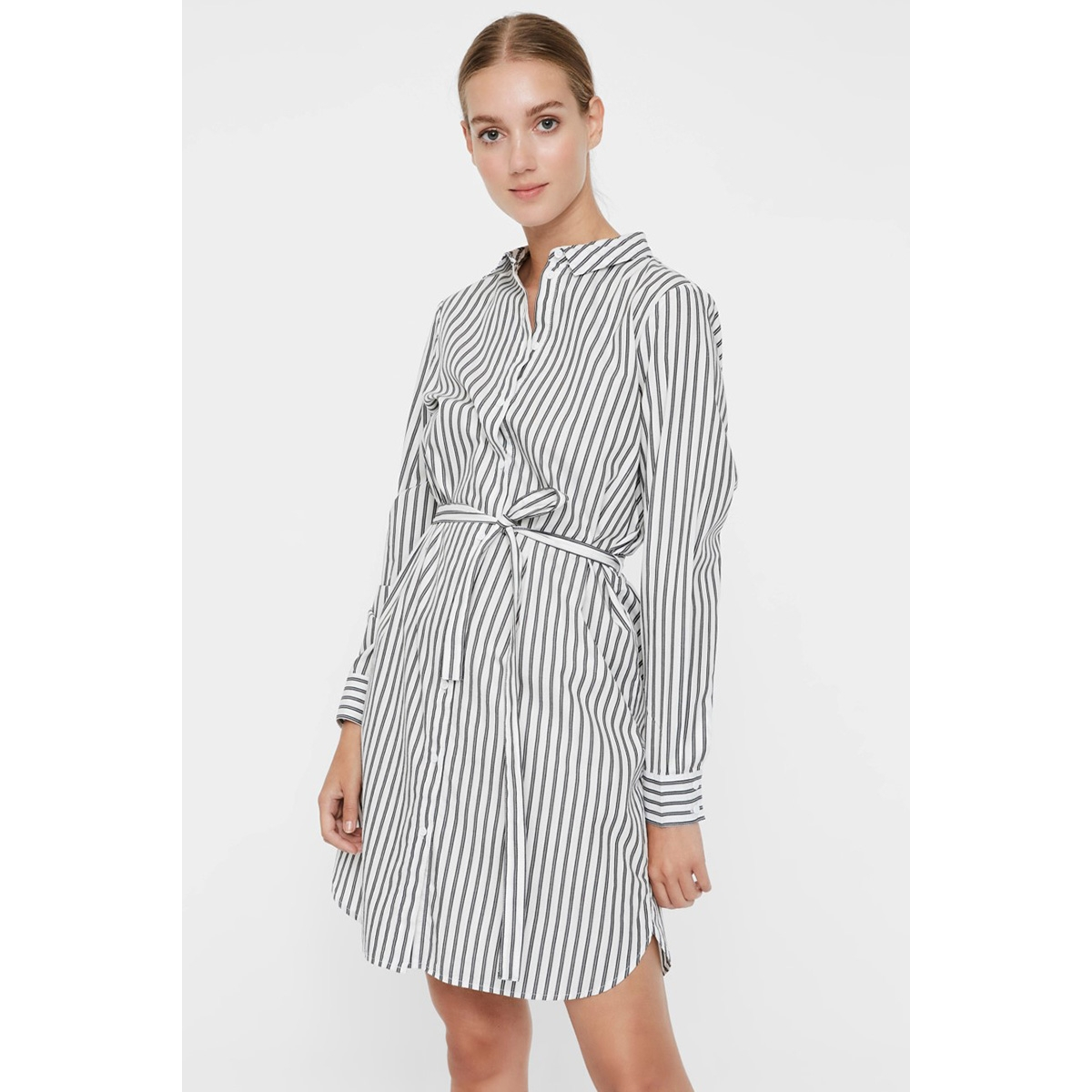 vmgemma ls abk shirt dress wvn 10225890 vero moda jurk snow white/black stripe