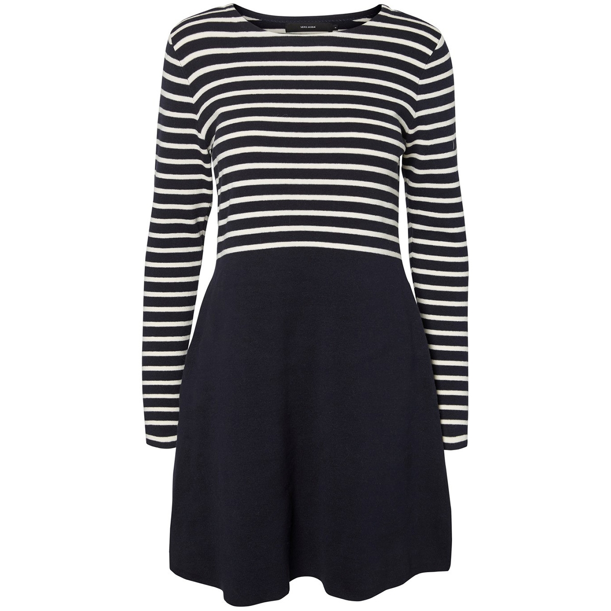 vmsailor ls stripe dress boo 10223725 vero moda jurk night sky/w. pristin