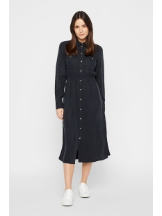 pcnola ls midi lyocell shirt dress- 17101526 pieces jurk black