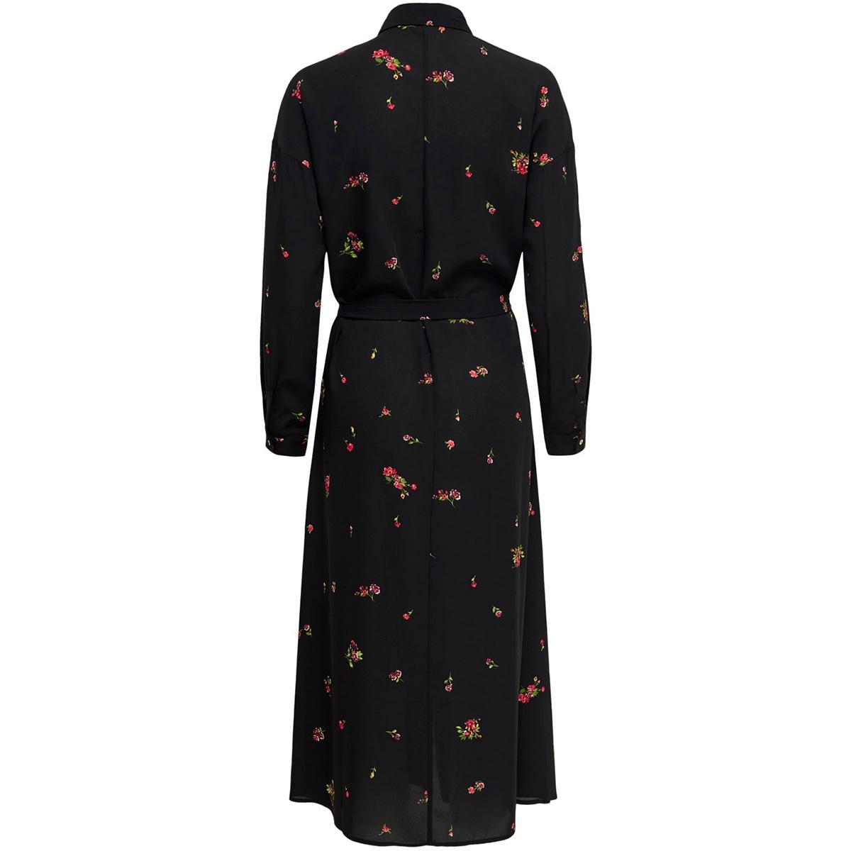 onladie  life l/s midi shirt dress 15197276 only jurk black/red flower
