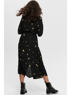 onladie  life l/s midi shirt dress 15197276 only jurk black/yellow flower