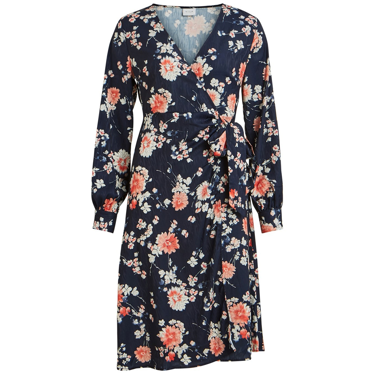 viwilla l/s dress 14057413 vila jurk navy blazer/flowers