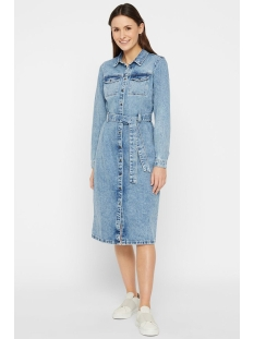 Pieces Jurk PCNAMIR LS DENIM SHIRT DRESS LB145- 17102156 Light Blue Denim
