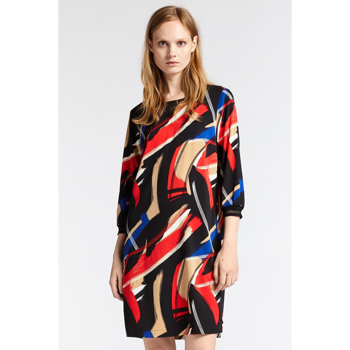 geweven jurk 23001697 sandwich jurk 20151 red