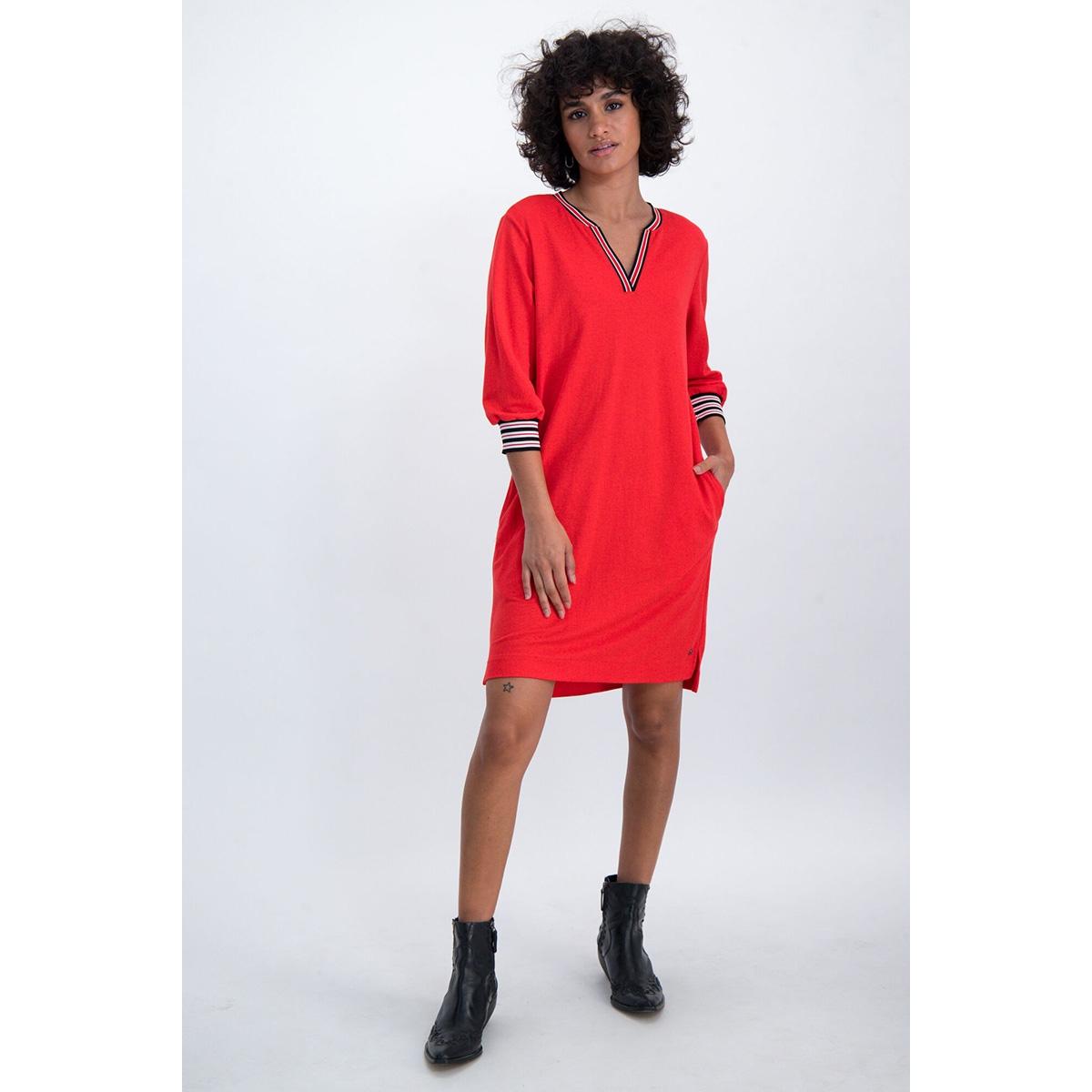 jurk met gestreepte boorden n00281 garcia jurk 721 poppy red