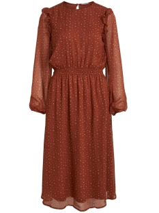 Vila Jurk VIUTA L/S MIDI DRESS 14058731 Copper Brown/DOTS