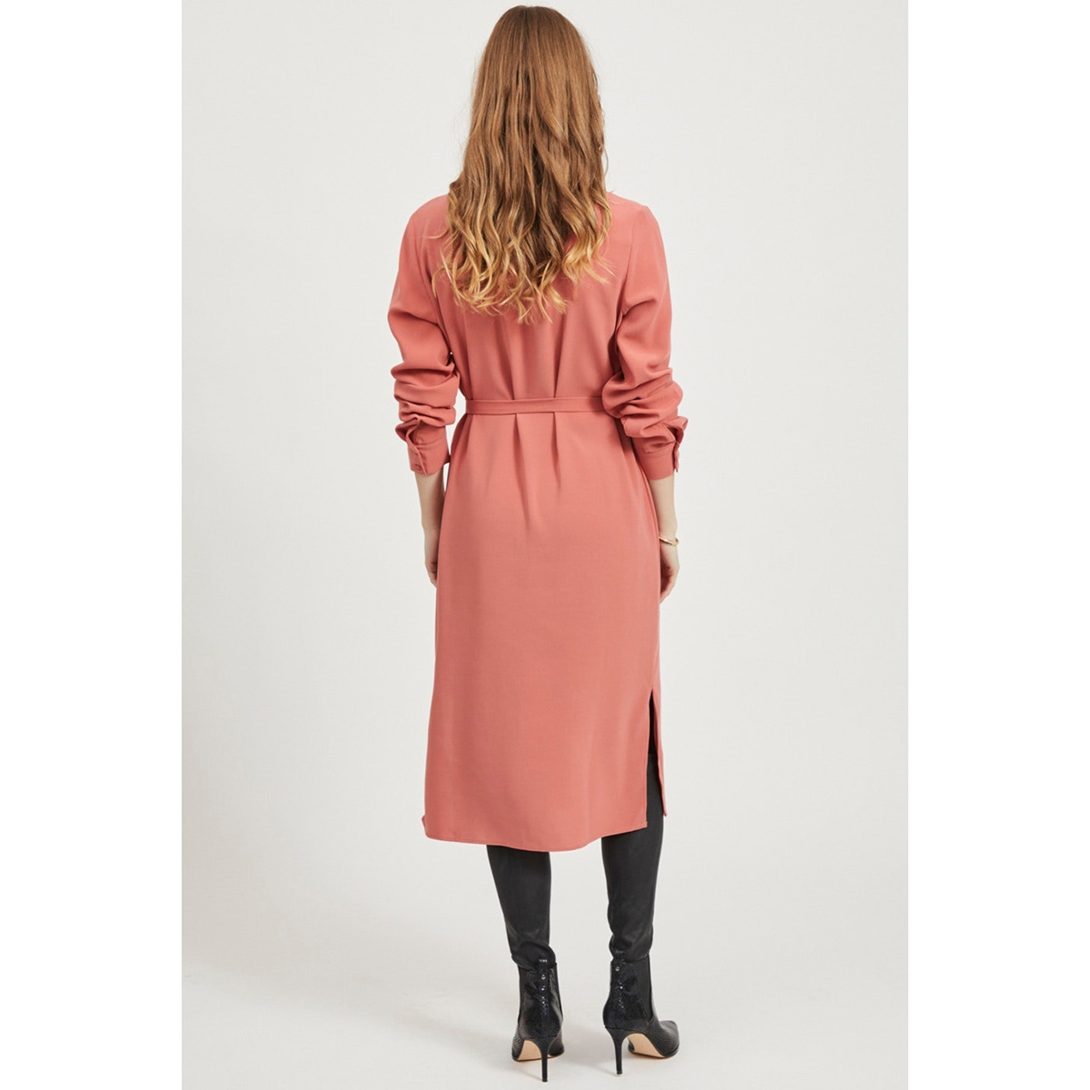 vilaia l/s new shirt dress/1 14057260 vila jurk dusty cedar