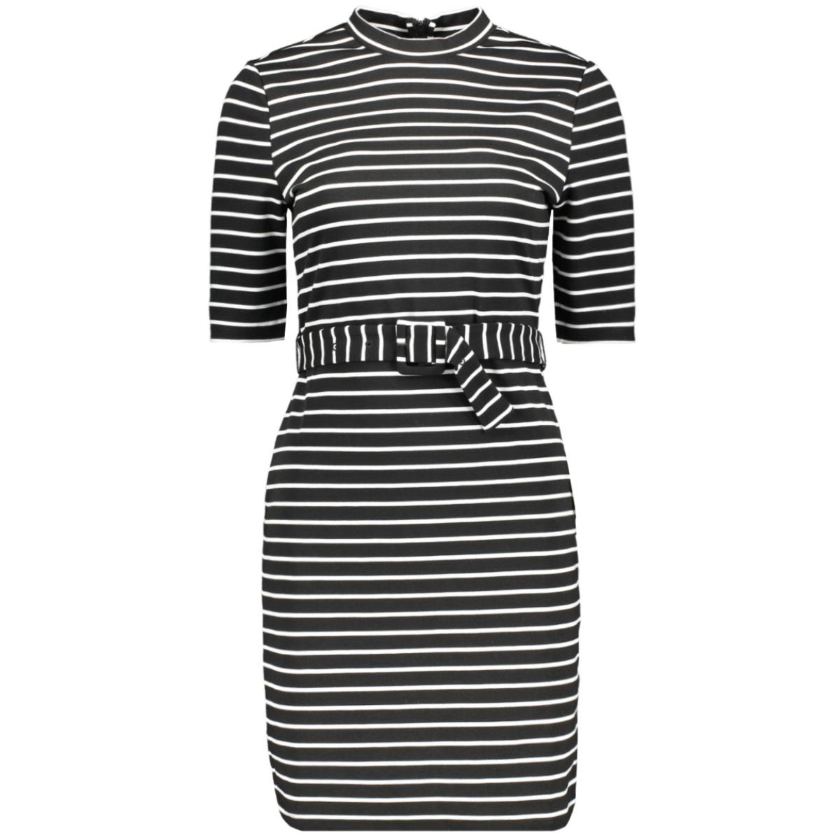 onlfrida 3/4 belted dress swt 15199482 only jurk black/cloud dancer