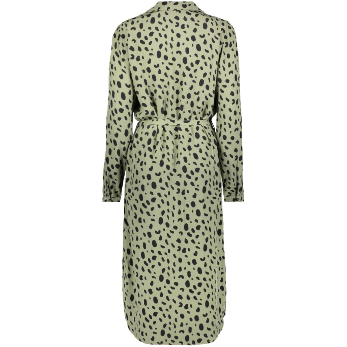 pcpenny ls midi shirt dress d2d 17107950 pieces jurk deep lichen green/dots