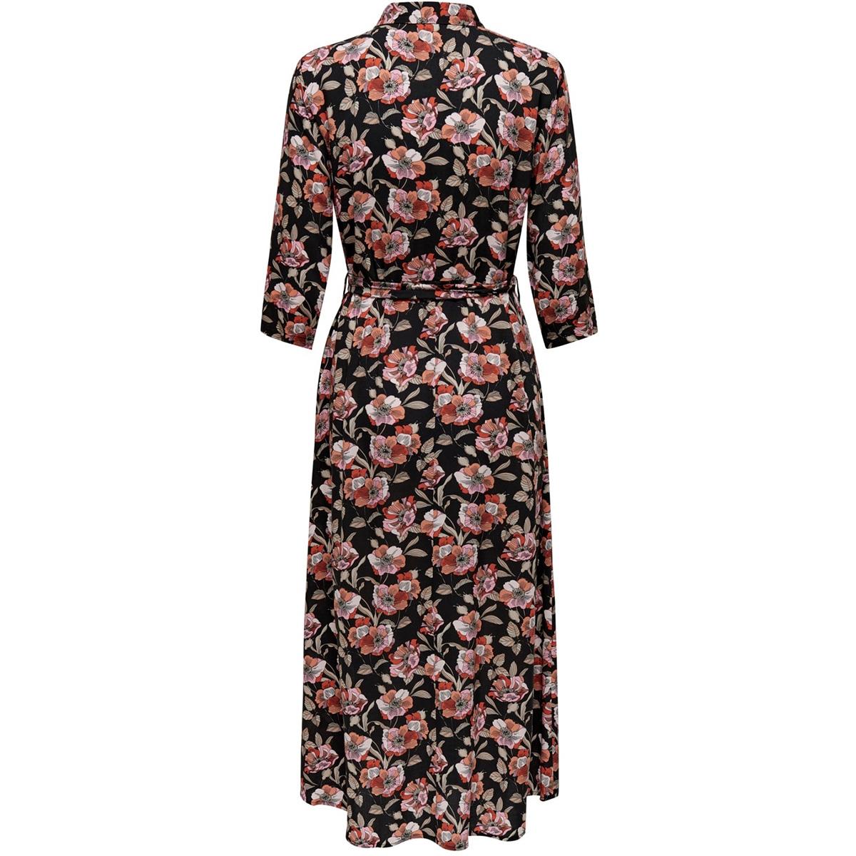 jdystarr life 3/4 maxi dress wvn 15200236 jacqueline de yong jurk black/etruscan r