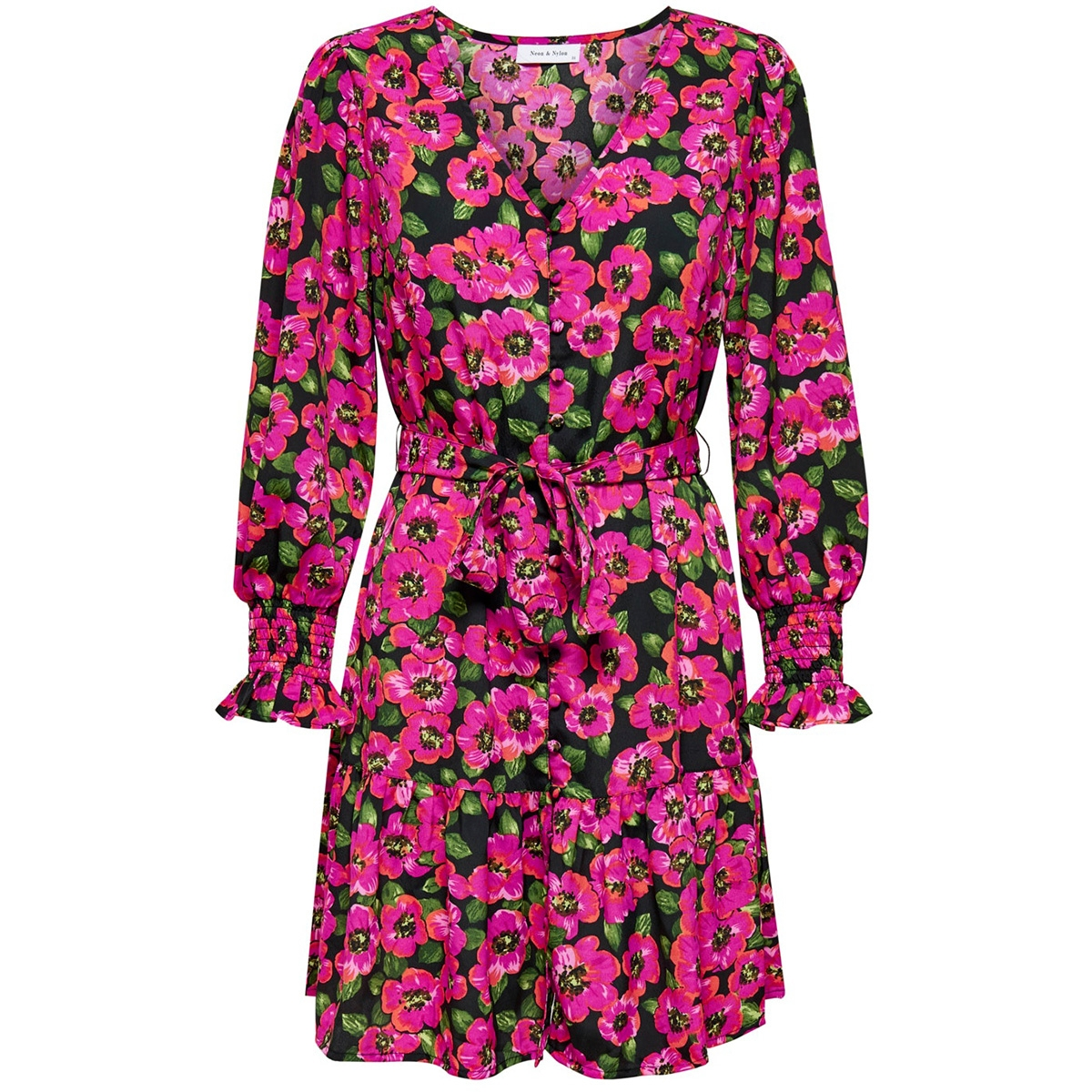 onlbella l/s short dress wvn 15207361 only jurk black/pink flower