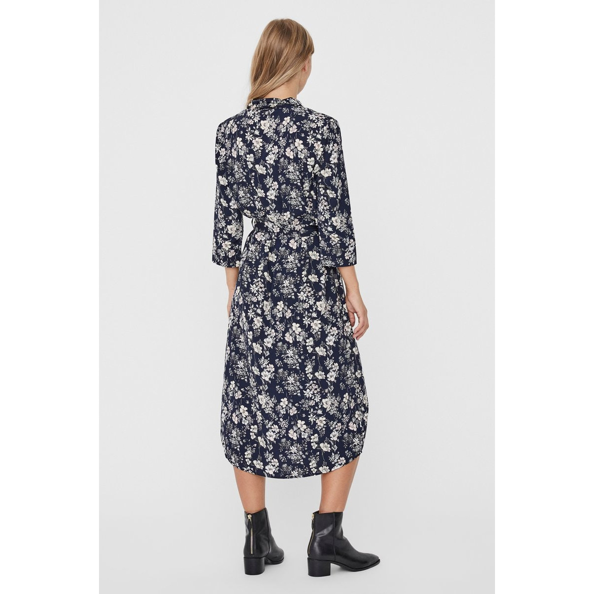 vmdiana 3/4 calf shirt dress wvn da 10227859 vero moda jurk night sky/diana