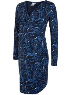 Mama-Licious Positie jurk MLROMINA TESS L/S JERSEY ABK DRESS 20010622 Navy Blazer/SNOW WHITE