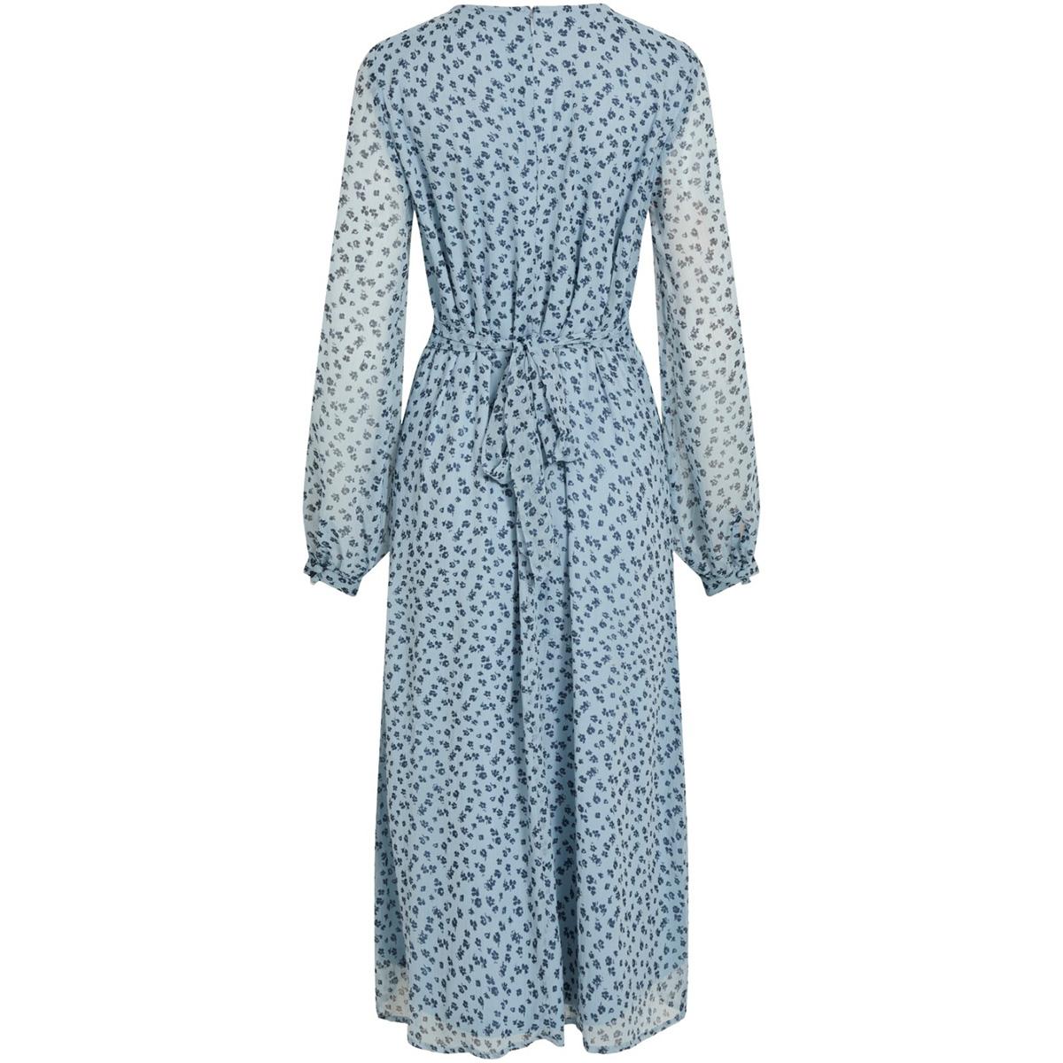 visabbia l/s  midi dress 14058191 vila jurk ashley blue/navy blazer