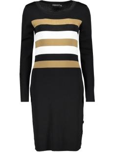 Geisha Jurk DRESS KNITTED WITH STRIPES 97516 Black/Carmel/Offwhite