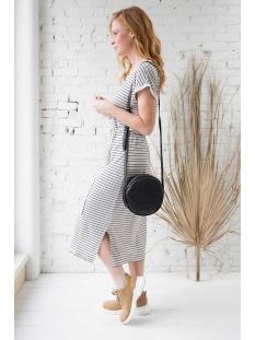 basic t-shirtjurk zusss jurk zwart/zand