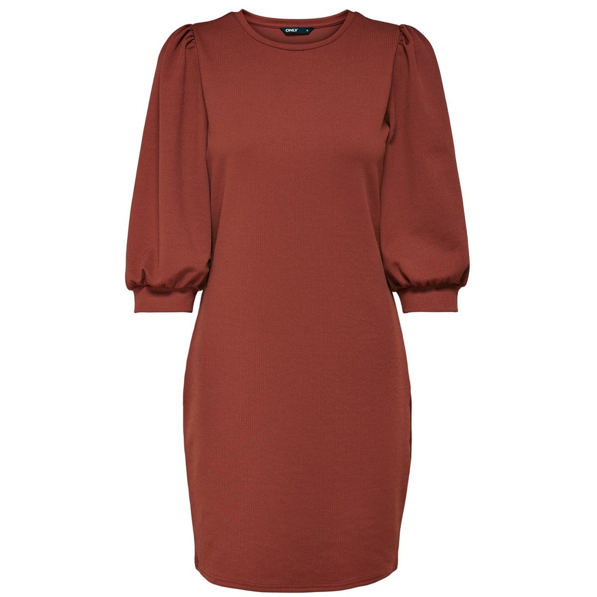 onllife 3/4 puff dress jrs 15216865 only jurk burnt henna