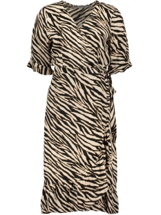 Geisha Jurk DRESS WRAP RUFFLE 0710720 BLACK/SAND COMBI