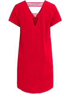 visommi new detail s/s dress /l 14057103 vila jurk flame scarlet