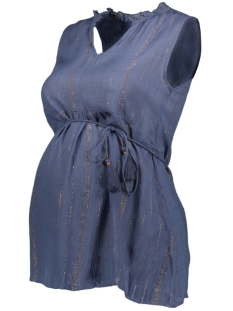 Mama-Licious Positie shirt MLGOLDIE S/L WOVEN TOP 20010914 Blue Indigo/GOLD LUREX