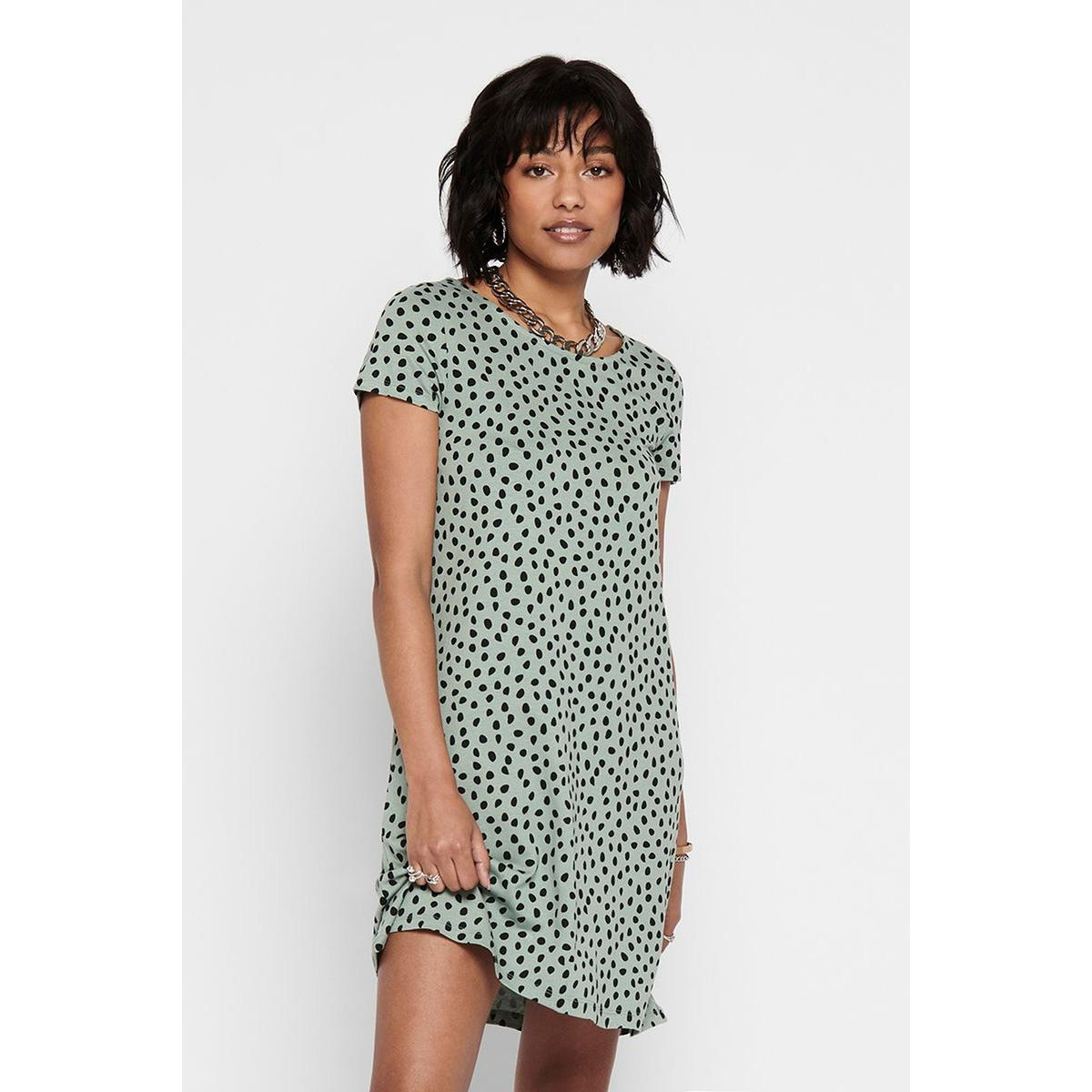 onlbera back lace up s/s dress jrs 15131237 only jurk chinois green/black dots