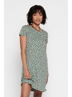 Only Jurk ONLBERA BACK LACE UP S/S DRESS JRS 15131237 Chinois Green/BLACK DOTS