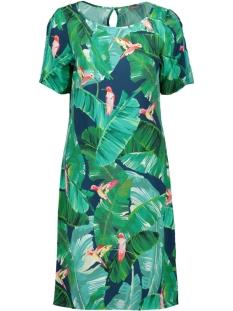Geisha Jurk DRESS AOP LEAVES S S 07109 Navy/Green Combi