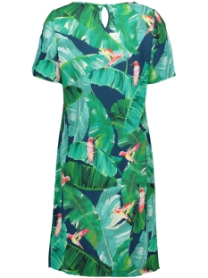 dress aop leaves s s 07109 geisha jurk navy/green combi