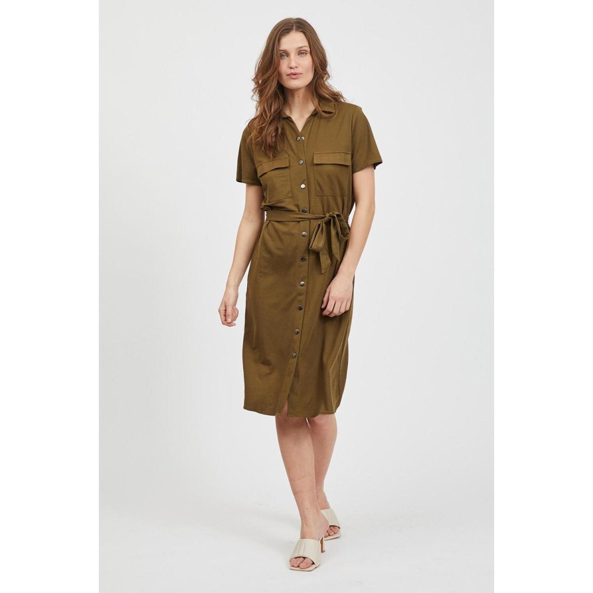 visafina s/s shirt dress - noos 14057357 vila jurk dark olive
